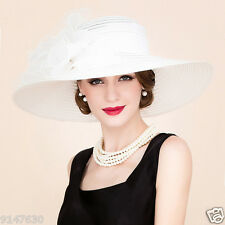 New Women's Kentucky Derby Church Wedding Noble Dress linen feather Sinamay hat