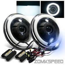 "*8000K HID* 7"" Round Glass Lens Semi-Sealed Black Halo Tru-Projector Headlights"