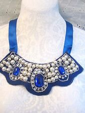 BEAUTIFUL Neckline Necklace Applique Ribbon Tie Bead & Sequin  -ROYAL BLUE