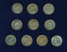 CANADA GEORGE V 5 CENTS SILVER COINS: 1911, 1912, 1913, 1914, 1915, 1916, 1917,.
