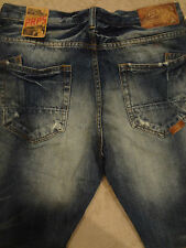 PRPS BARRACUDA Straight Blue Jeans Mens Relaxed 33 /SLIM 34 x 32 Distressed Wash