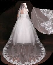 27v Charming Romantic Long Ivory Embroidered Edge Bridal Wedding Veil