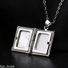 """Vogue20"""" Rolo Silver Book Locket Photo Frame Pendant Necklace For Friend Gift"""