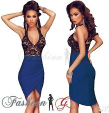 Womens Midi Dress Bodycon Black Blue Party Pencil Wiggle Floral Lace Size 8,10 S