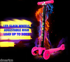 3 WHEEL LED flash 2016 EURO 3-8 YEARS TRI SCOOTER ADUJSTABLE HIGH - PINK