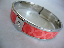 "Coach OP Art Print Silver Coral 1/2"" Bangle Bracelet NWT"
