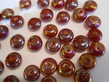 50 RED/BROWN RONDELLE 8mm HANDMADE LUSTER GLASS SPACER BEADS BARS BRACELET