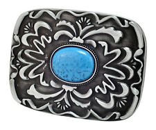 Western Native American Belt Buckle Turquoise Stone Indian #2 Unique Metal
