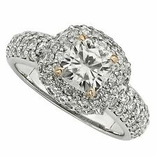 2.76CT FOREVER BRILLIANT ROUND WITH ROSE PRONGS & MICROPAVE ENGAGEMENT RING