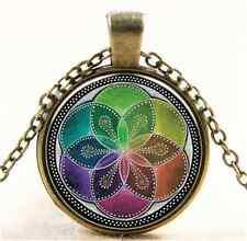 Vintage Flower of Life pattern Cabochon Bronze Glass Chain Pendant Necklace