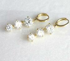 14K Yellow Gold Plated CZ Cubic Xmas Wedding 37mm Long Dangle Hoop Earrings
