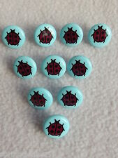 10 x BLUE with LADYBIRD MOTIF BUTTONS ~ Size 24L (approx 15mm) BABIES/CRAFT