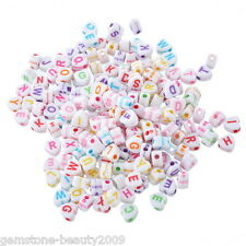 500PCs Acrylic Alphabet Beads Engrave Letters Jewelry Finding Love Heart Mixed