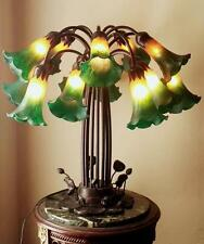 Gorgeous Tiffany Style Pond Lilly Pad Table Lamp 15 Bi-Color Blown Glass Shades