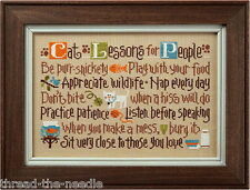 Lizzie Kate, Cat Lessons for People - Counted Cross Stitch Pattern Chart