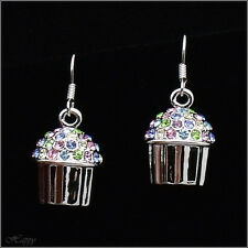 Mini Cupcake Baker Cake Drop Earring Fashion Jewel Austrian Crystal Multicolor