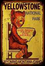 *YELLOWSTONE NATIONAL PARK* DO NOT FEED BEARS METAL SIGN 8X12 RUSTIC LOG CABIN