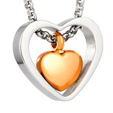 Stainless Steel Heart Cremation Pendant Urn Jewelry Holds Pet/Human Ashes Gold