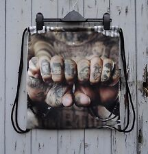 Vintage Tattoo Knuckles Backpack - Bag Gym Handbag Vintage Gangster Alternative