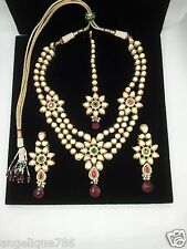 Indian Jodha Akbar TV Serial Bridal Kundan Necklace Earrings Tikka Set Gorgeous