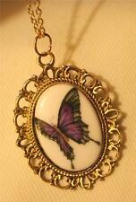 Dainty Picot Rimmed Goldtone Ceramic Violet and Blue Butterfly Pendant Necklace
