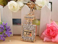 KC001 Perfume Fragrance Bottle Keyring Rhineston Crystal Charm Pendant Chain Gif