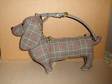 "Fuzzy Nation Dachshund Purse Plush 13"" Stuffed Dog Gray Plaid Bag Excellent"