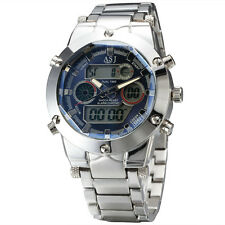 Men Sport Stainless Steel Watch LED Digital Analog Relogio Quartz Montre Homme