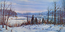 Vintage PRINT Brown County INDIANA Winter PANORAMIC W. Harold Hancock ART Snow