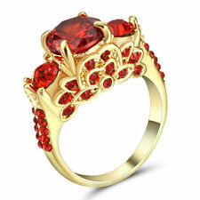 Vintage Round Red Ruby Wedding Band Ring Women's Yellow Gold Filled Size 7