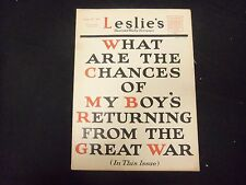 1917 AUGUST 30 LESLIE'S WEEKLY MAGAZINE - GREAT COVER, PHOTOS & ADS - ST 2163