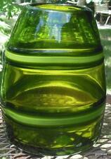 "Hand Blown Olive Green Glass Vase  7"" x 5"""
