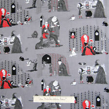 Halloween Fabric - Oddities Monster Scenes Gray - Elizabeth's Studio YARD