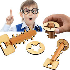 Child Kids Intelligence Educational Key Unlock Puzzle Toys Pre-school Wooden Toy