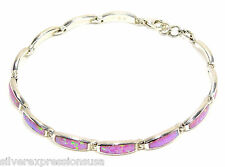 Pink Fire Opal Inlay Genuine 925 Sterling Silver Link Tennis Bracelet 7''- 8''