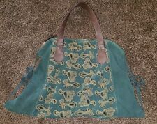 ANTHROPOLOGIE MISS ALBRIGHT PAISLEY Leather Suede Dark Green Blue Teal EUC