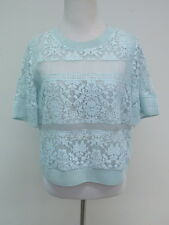Rebecca Taylor Patch Lace Top Robins Egg Blue Size 6 $350 New with Tags