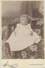 CABINET CARD PORTRAIT OF ADORABLY CONFUSED BABY IN WHITE DRESS - POTTSTOWN, PA