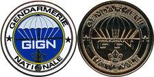 Gendarmerie Nationale, G.I.G.N, GIGN centre bleu, jeton biface 44 mm (0502)