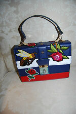 Designer Inspired Bee Flowers Patched Bag, Crossbody bag