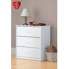 Wooden Bedroom Dresser Chest 3 Drawers Modern Wood White Storage Mainstays