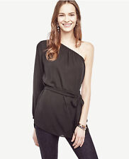 Ann Taylor - Small (4-6)  Black Belted One Shoulder Blouse $79.50 (H)