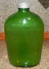 VINTAGE GREEN GLASS REFRIGERATOR WATER BOTTLE CANTEEN W/ CAP 1/2 GALLON RIDGED