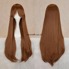 80cm long straight cosplay wig with fringe in chestnut brown, UK SELLER, Alex