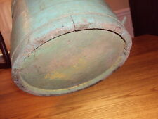 ANTIQUE VINTAGE OLD COUNTRY GREEN  PRIMITIVE WOOD FIRKIN PANTRY BUCKET PAIL