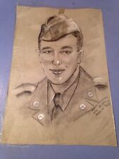 Post WWII Portrait Drawing Of A US Soldier New Orleans Artist CT Soldier