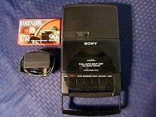 Sony TCM-929 Portable Cassette Player w/Power Supply, Batteries and Tape. NICE.