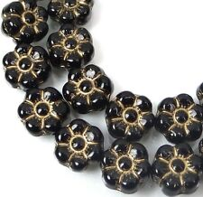 25 Czech Glass Daisy Flower Beads - Jet - Gold Inlay 8mm