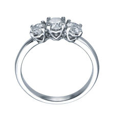1.20 carat UNIQUE HEART TRILOGY 3-STONE DIAMOND ENGAGEMENT RING - 18k White Gold