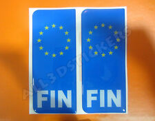 2x3D Sticker Resin Domed Euro FINLAND Number Plate Car Badge Adhesive Decal